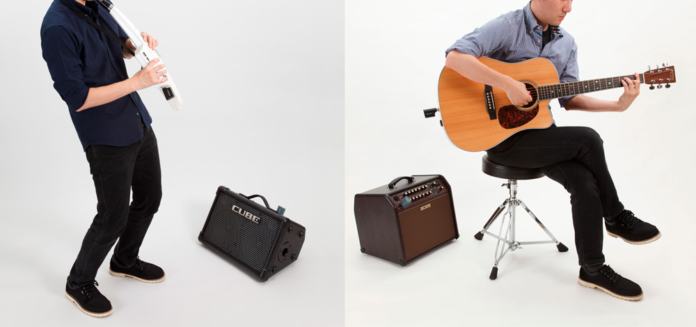 The BOSS WL series works great with electronic instruments like Roland's Aerophone (left), acoustic-electric guitars, keytars, synths, drum machines, and more.