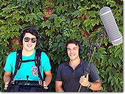 Boom Operator/Foley Artist Andrea Bellavista and production sound mixer and designer Claudio Bagni