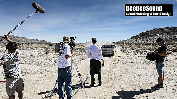 BeeBeeSound on location for a film with their audio setup which includes the Roland R-88.