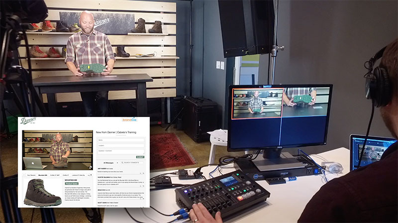 Brandlive studios in Portland used the Roland VR-4HD to stream a new product training event for Danner footwear.