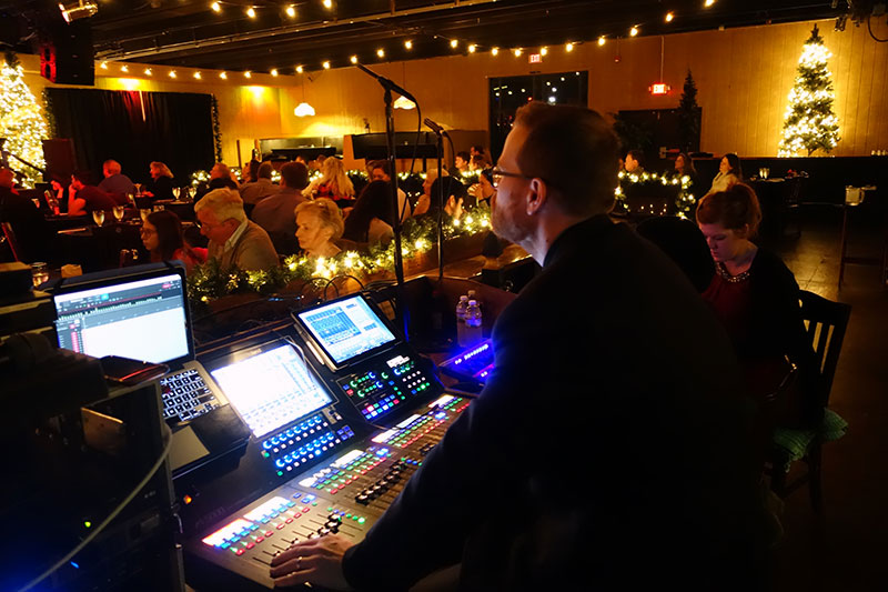 FOH engineer Toby Caldwell, working with the Roland M-5000 OHRCA Live Mixing Console.