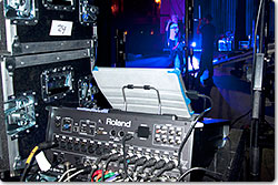 Pentatonix stage seen from behind the Roland M-200i V-Mixer