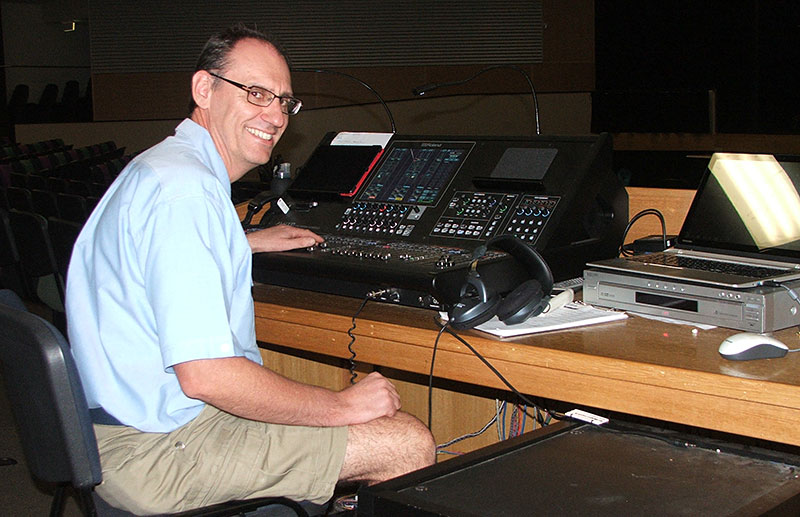 Facility and Technical Manager Kent Krause at the controls of the M-5000 Console.