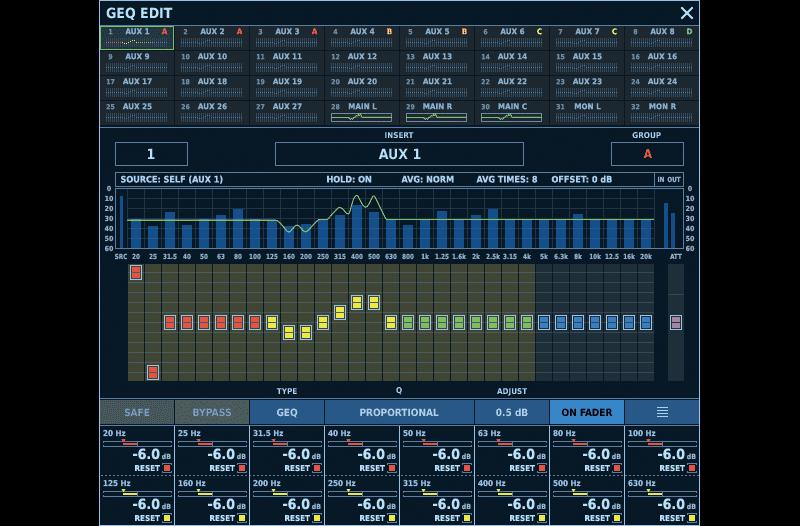 The M-5000's Graphic EQ Screen