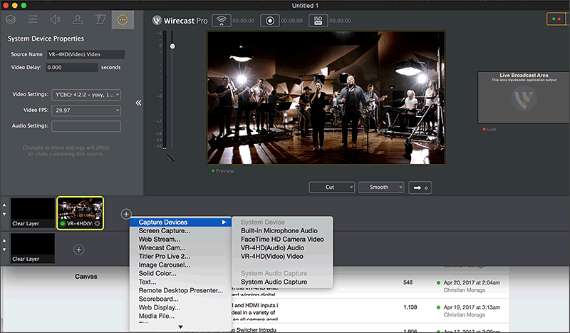 Adding the VR-4HD as a Shot in Wirecast