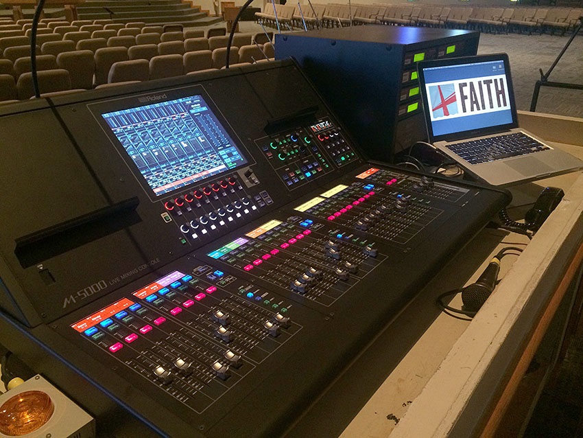 The front-of-house position at Faith Lutheran Church in the Oakville area of St. Louis, MO, featuring a Roland M-5000 OHRCA Live Mixing Console. Photo courtesy of Andy Weiss, Faith Lutheran Church. © 2015.