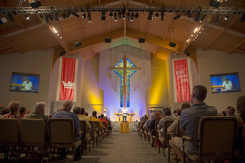 The sanctuary of Faith Lutheran Church in in the Oakville area of St. Louis, MO, which recently acquired a Roland M-5000 OHRCA Live Mixing Console. Photo courtesy of Faith Lutheran Church. © 2015.