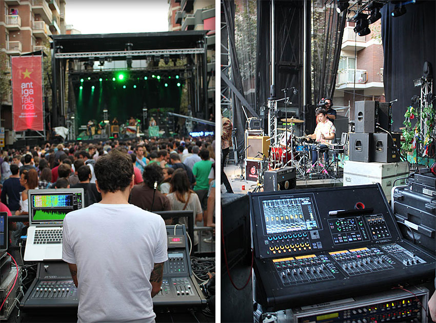 Left: FOH Engineer Jordi Brugues at the Roland M-5000 at the Barcelona Acció Musical (BAM) Festival. Right: M-5000C stageside for monitors.