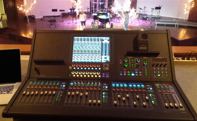 The view from the front-of-house position at Rose Heights Church in Tyler, Texas, featuring a Roland M-5000 OHRCA Live Mixing Console.