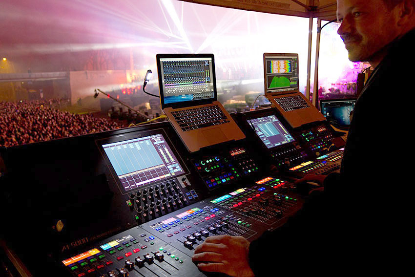 Front Of House Engineer Aaron Alcántara With Roland M 5000 And 5000c Consoles