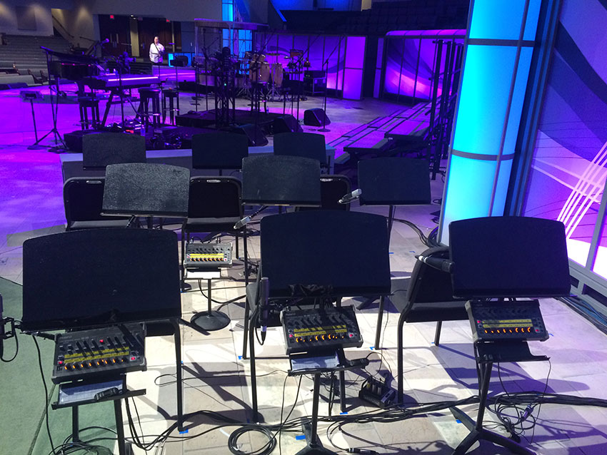 A view of the orchestra setup for Prestonwood Baptist Church's holiday program