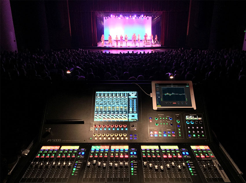 A cappella touring act Vocalosity at a recent concert, pictured from the FOH position, which features the Roland M-5000 OHRCA Live Mixing Console.