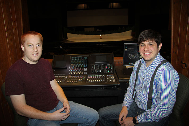 Pictured L-R: Andy Berg and Justin Durham, pictured with the Roland M-5000. OHRCA Live Mixing Console at the Tucker Theatre at Middle Tennessee State University's Boutwell Dramatic Arts Building.