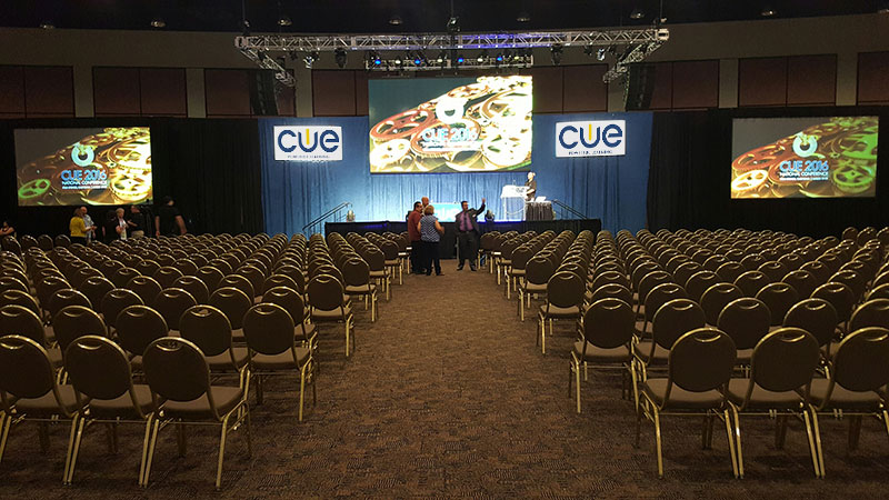 The setup for the CUE 2016 National Conference, which utilized the Roland V-800HD Multi-Format Video Switcher.