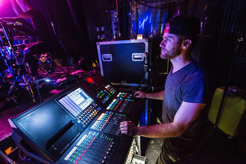 Nathan Langford, monitor mixer for Sabrina Carpenter