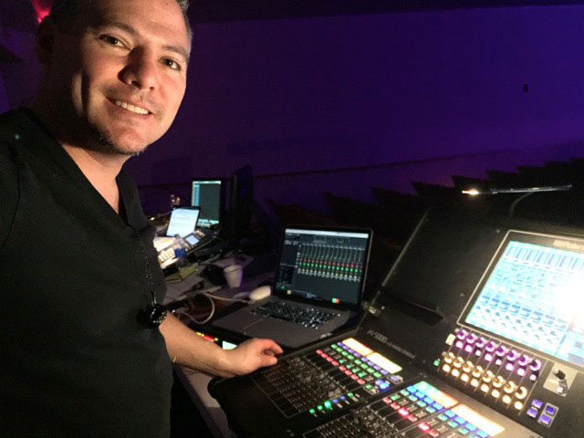 Tony Huerta, FOH and monitor mixer for the Vocalosity Tour