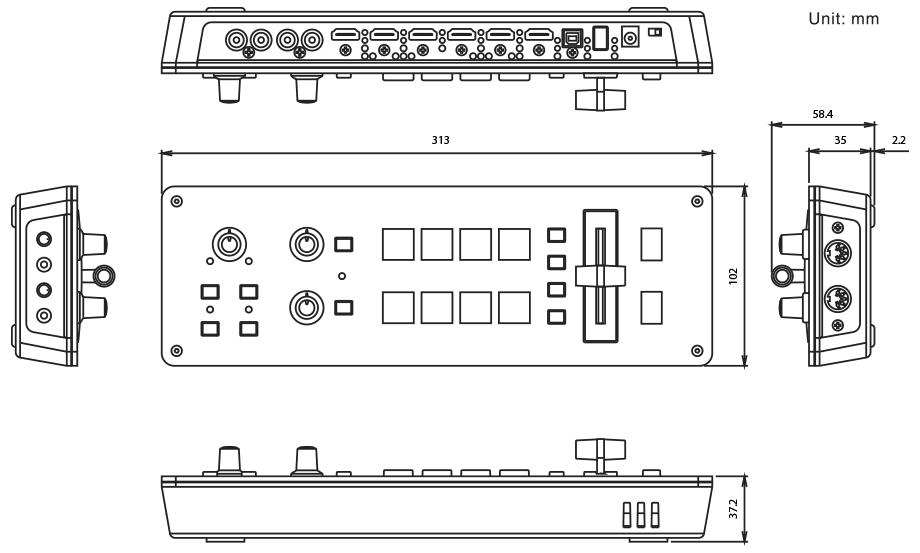 Roland V-1HD Dimensions