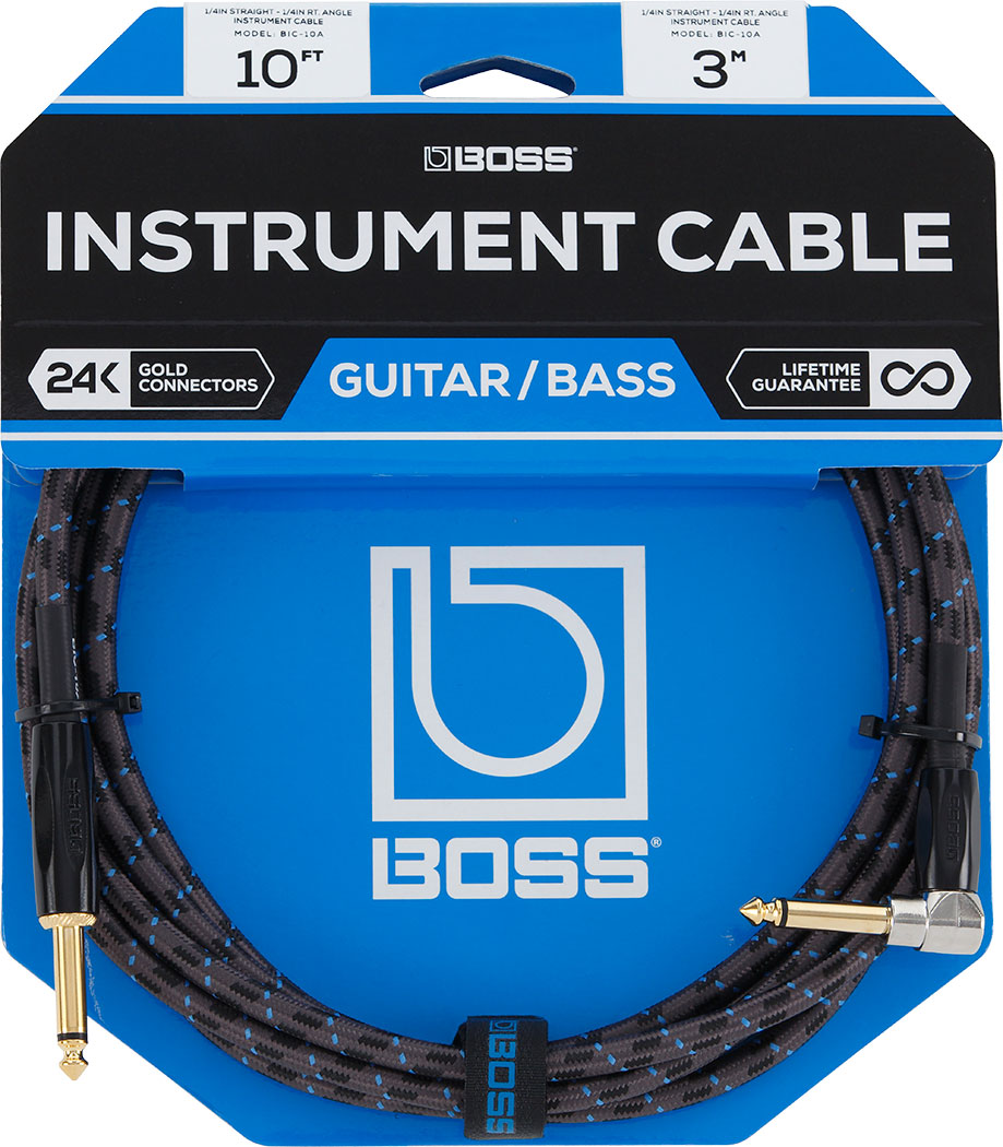 NEW 10 ft. Boss BIC-10A Instrument Cable RIGHT ANGLE