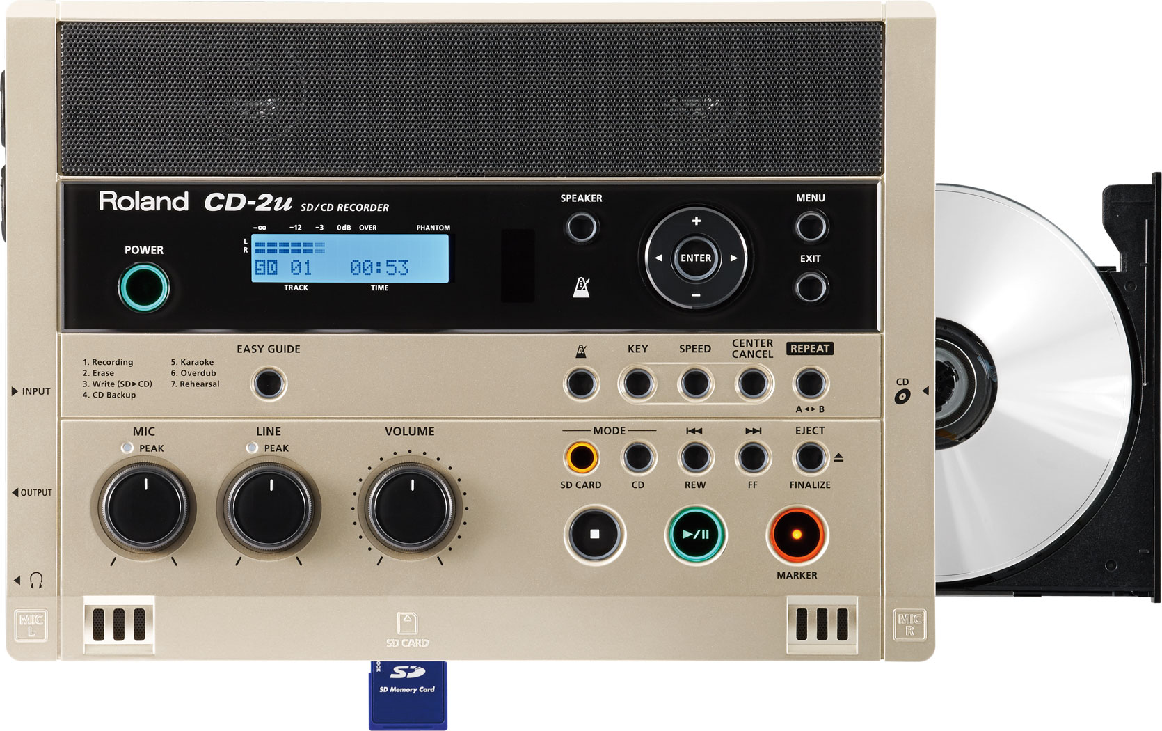 Roland CD-2u SD/CD portable recorder top