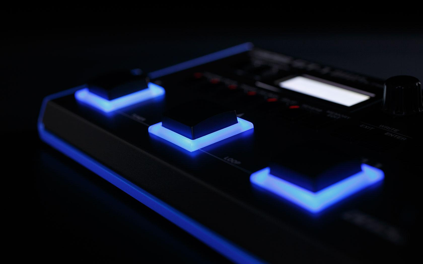 Lichtgevende knoppen boss gt-1 effecten processor pedaal
