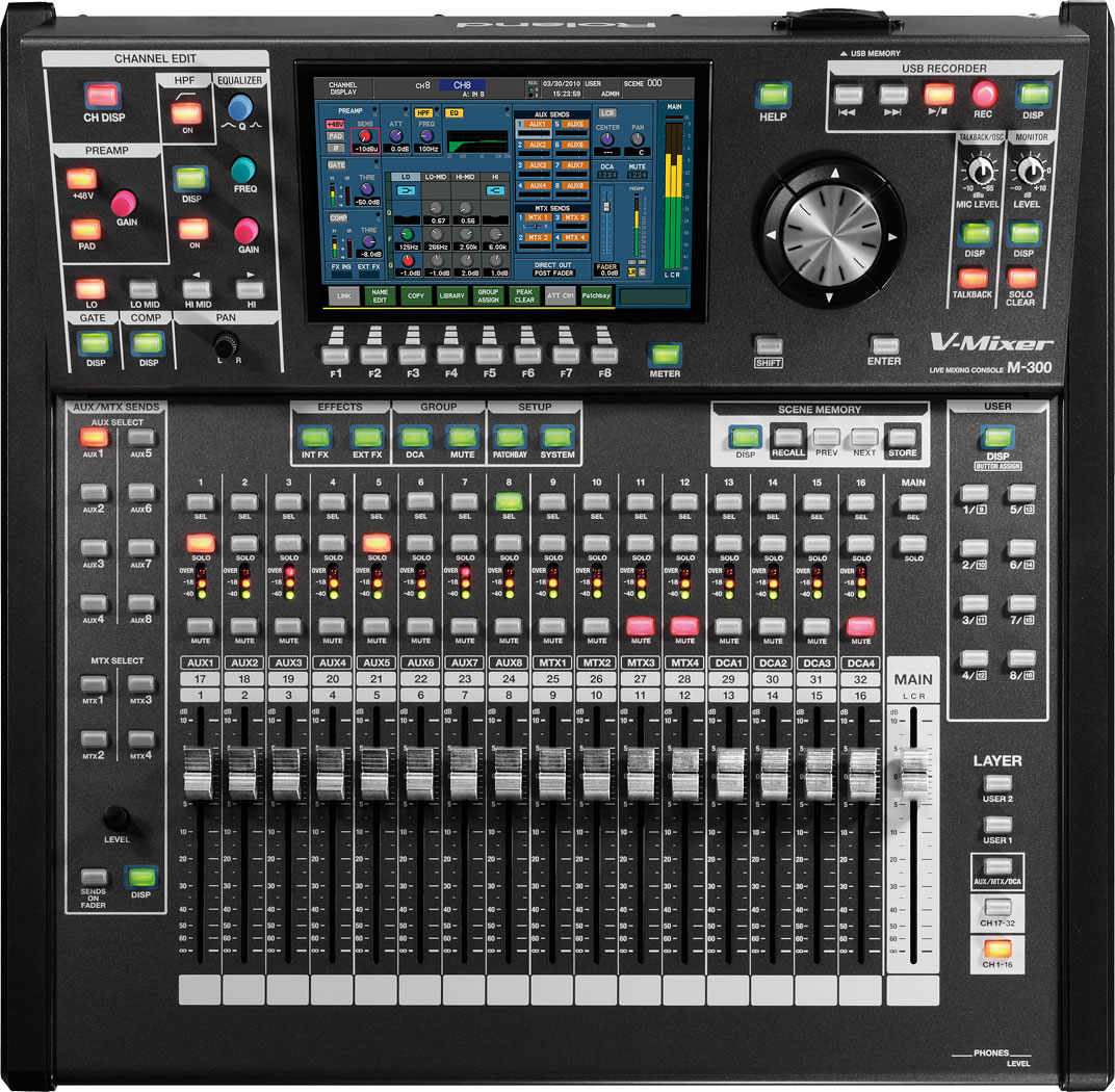 roland pro a v m 300 32 channel live digital mixing console. Black Bedroom Furniture Sets. Home Design Ideas