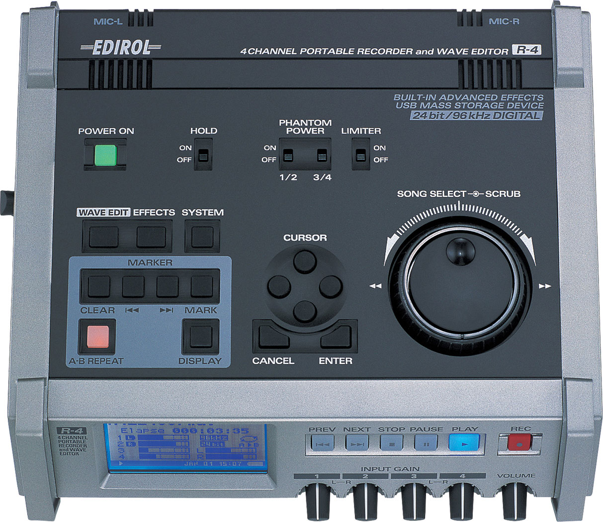Roland Pro A V R 4 Four Channel Portable Recorder And Wave Editor Camera Tutorial Block Diagrams Mono Tv