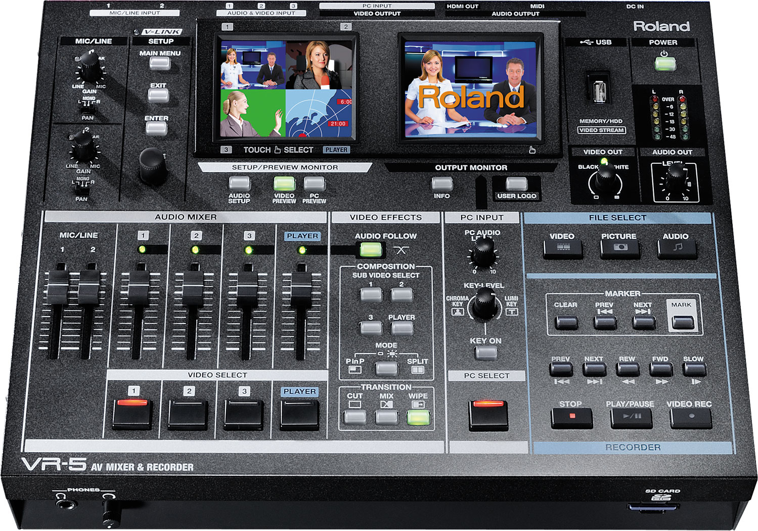 Roland Pro A V Vr 5 Av Mixer Recorder Usb To Rca Easy Capture 20 Dvr 1 Channel