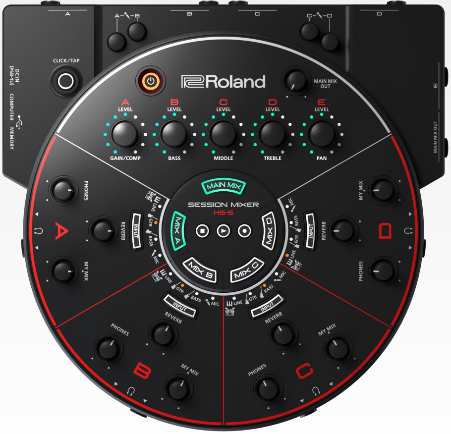Roland Hs 5 Session Mixer Pen Pc Technology Block Diagram Rehearsal And Recording For Ensembles
