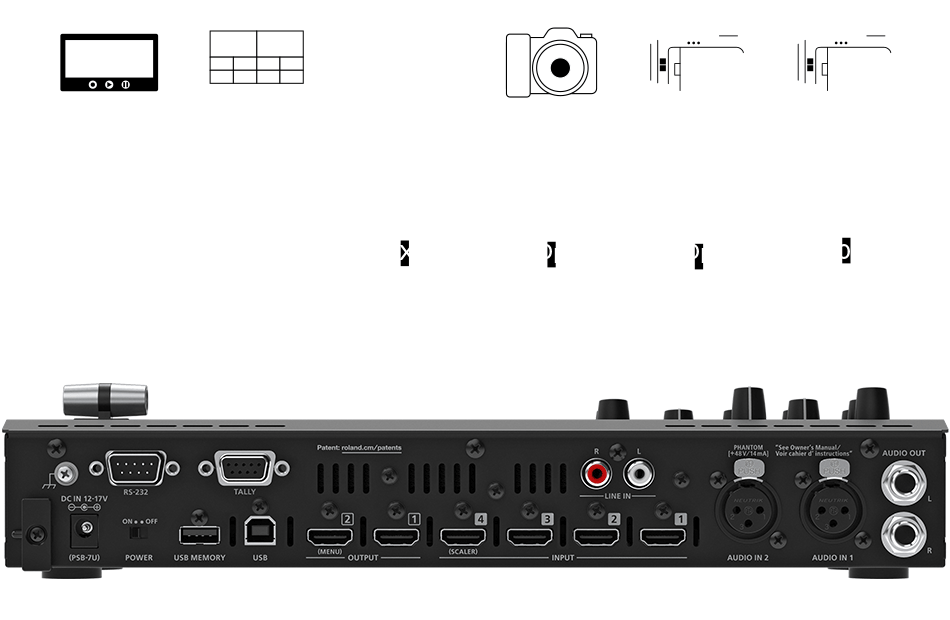 V-1HD+ - >Four Video Inputs and Onboard Scaling