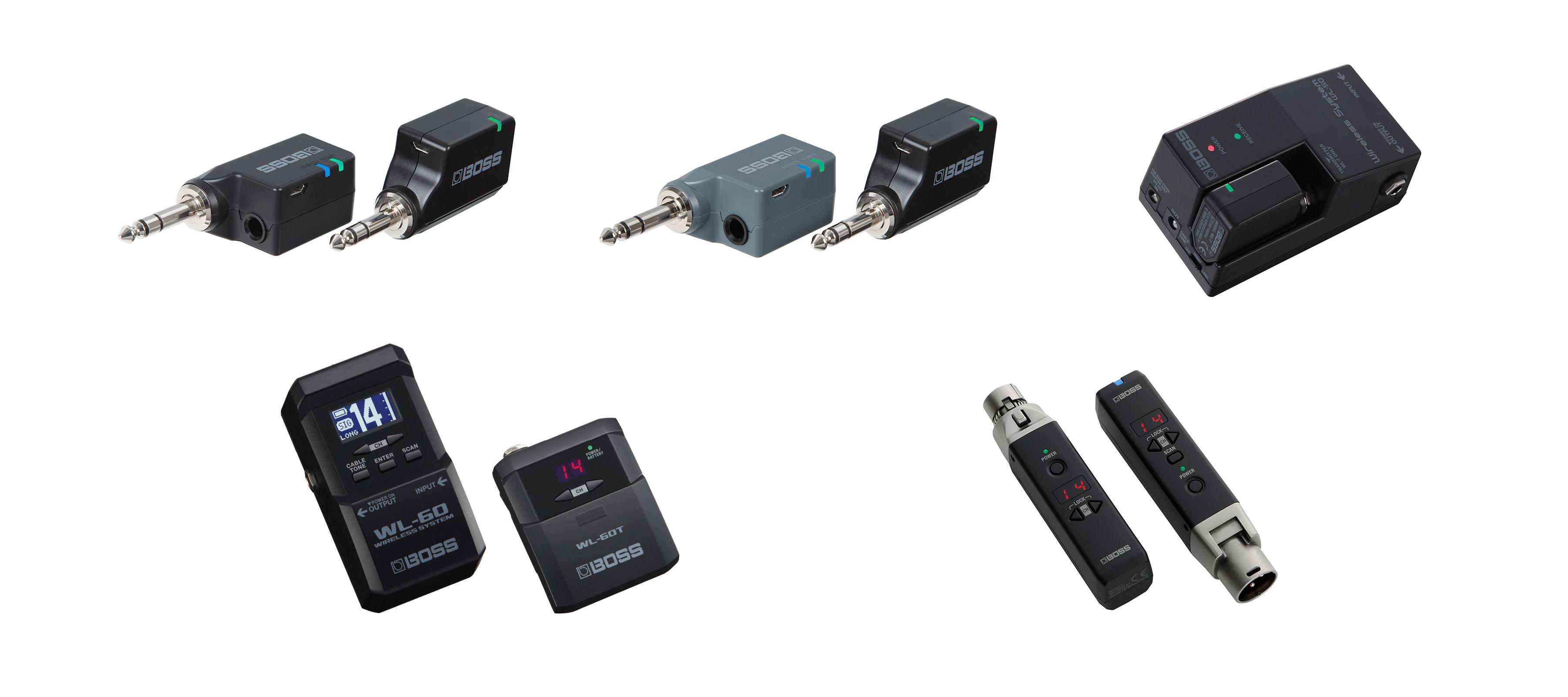 BOSS WL-series wireless systems: WL-20, WL-20L, WL-50, WL-60, and WL-30XLR (left to right).